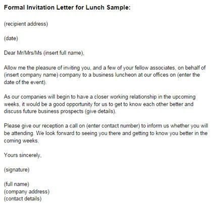 Formal Invitation Letter for Lunch Sample | Just Letter Templates