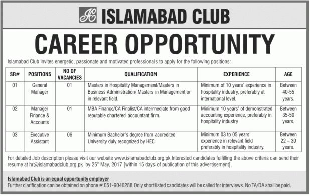 Assistant Job, General Manager, Manager Finance & Accounts Job ...