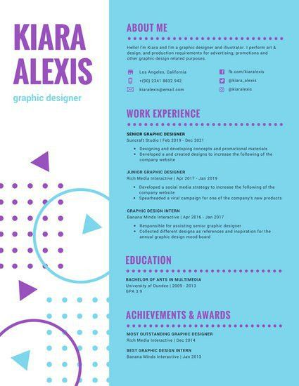 Blue Purple Colorful Funky Resume - Templates by Canva