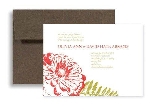 Red White Flower Design Microsoft Word Wedding Invitation 7x5 in ...