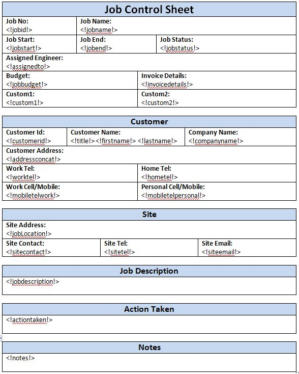 Job Sheet Template - Create Job Sheet | Amphis Software