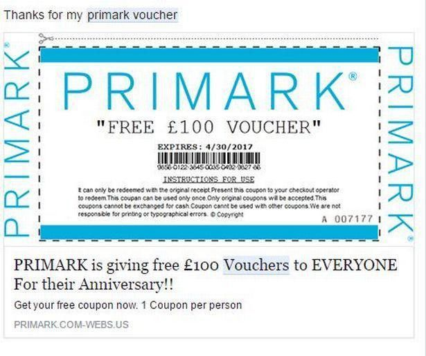 Primark shoppers warned over fake £100 discount voucher scam on ...