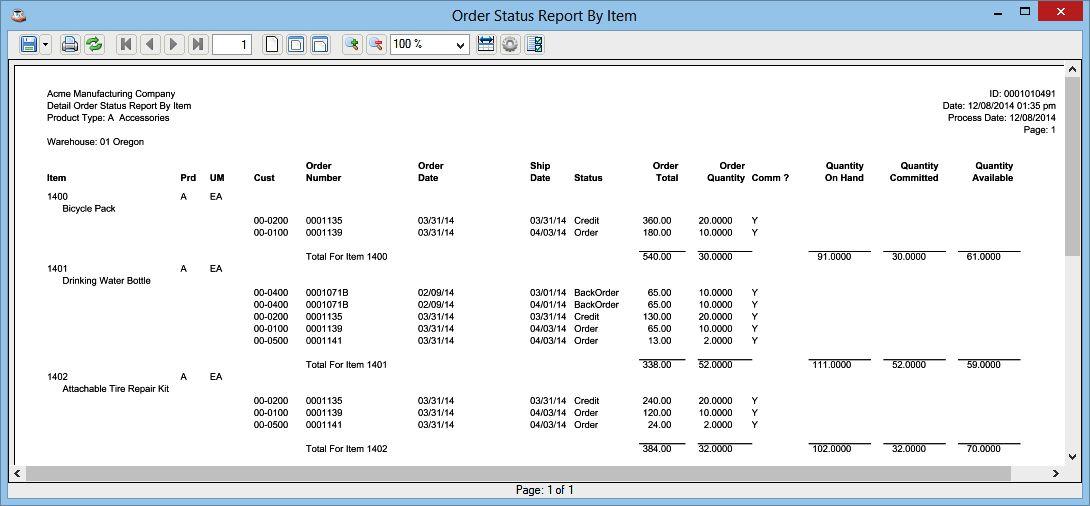 Order Status Report By Item