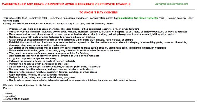 Cabinetmaker And Bench Carpenter Work Experience Certificate