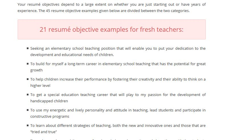 resume sample objective teacher teacher resume objectives samples ...