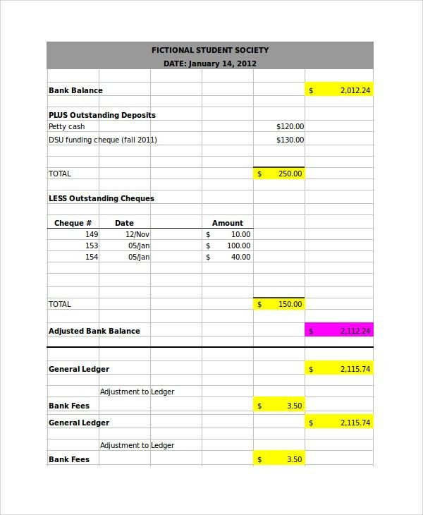 Bank Reconciliation Form. Bank Reconciliation Templates Excel ...