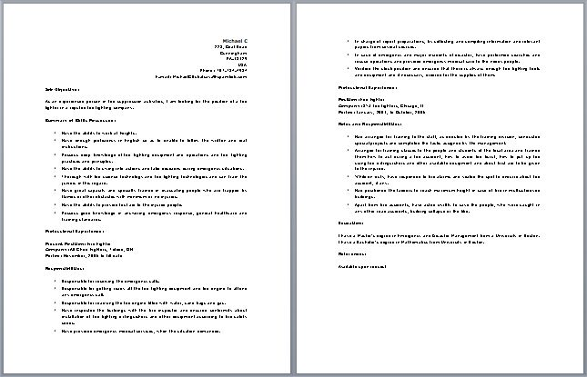 firefighter fireman resume example. firefighter resumes job and ...