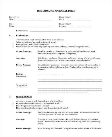 Sample Appraisal Form Formats - 9+ Free Documents in Word, PDF