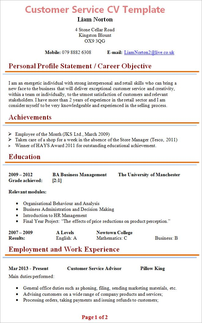 Customer Service CV Template + Tips and Download – CV Plaza