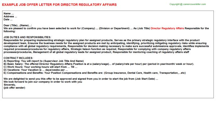 Director Regulatory Affairs Job Title Docs