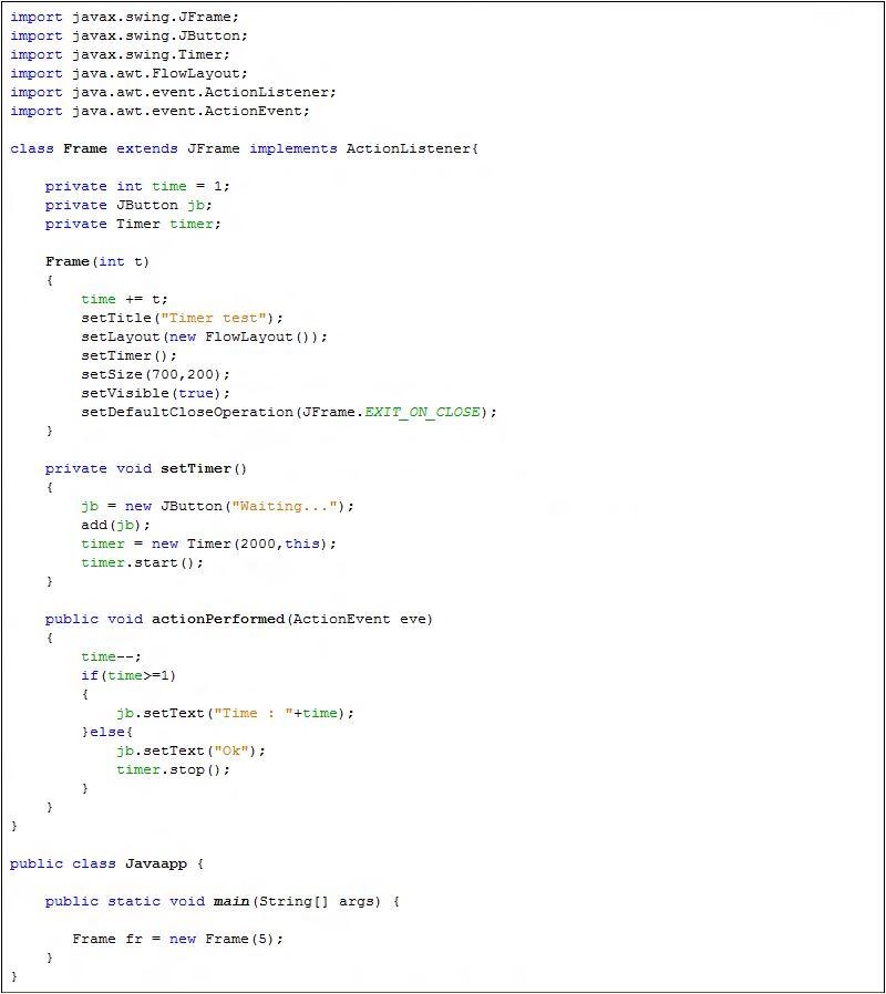 Java Swing Timer - Java Tutorial