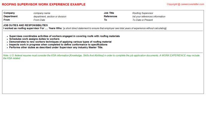 Roofing Supervisor Job Title Docs