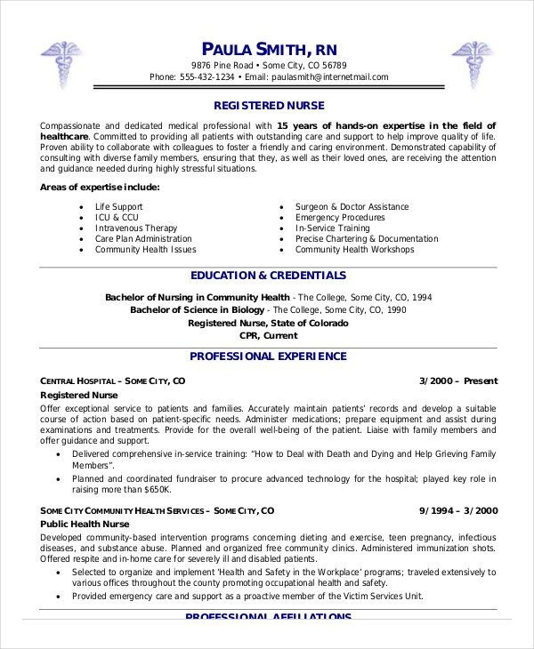 Nurse Resume Templates - Free Word, PDF Documents | Creative Template