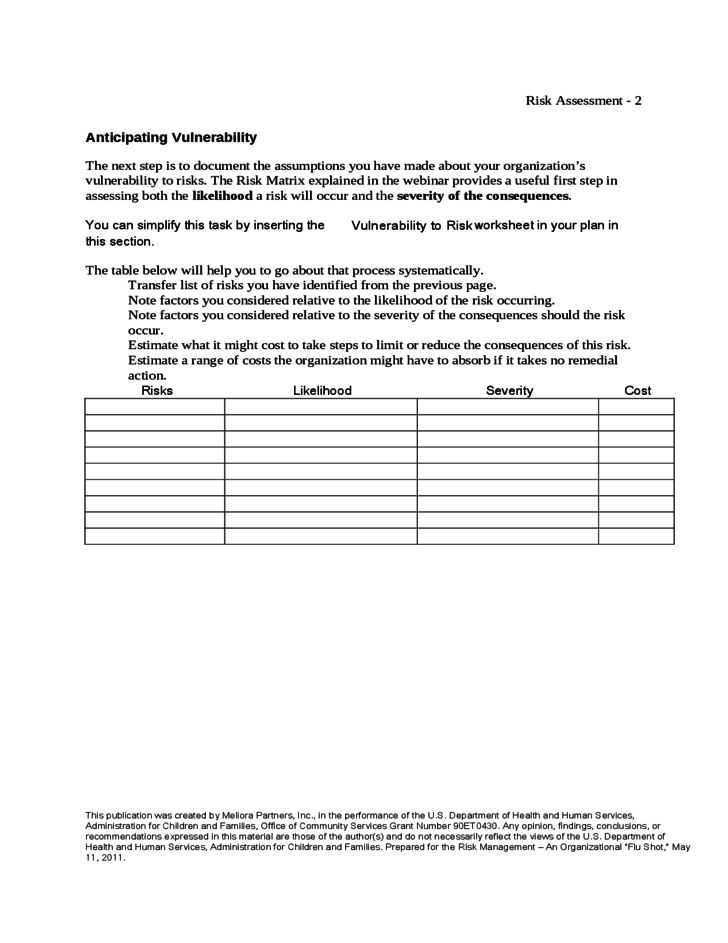 Risk Management Template Free] Risk Assessment Template Free Word ...