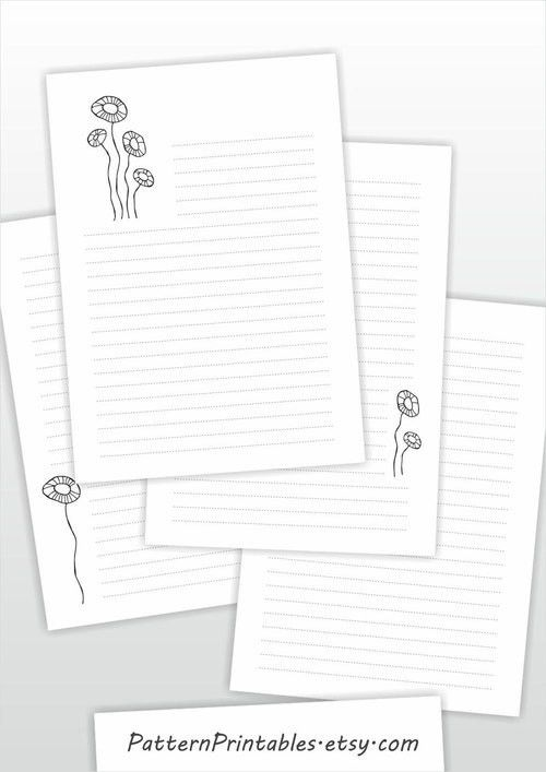 Lined printable letter paper. A4 size stationery. Digital file ...