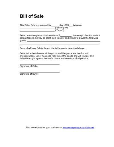 Basic Bill of Sale Form - Printable Blank Form Template