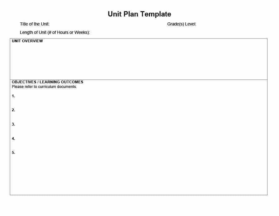 39 Best Unit Plan Templates [Word, PDF] - Template Lab