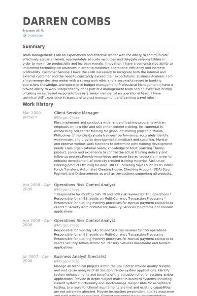Client Service Manager Resume samples - VisualCV resume samples ...