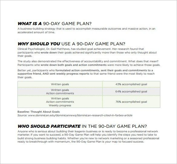 90 Day Plan Template – 8+ Free Word, PDF Documents Download ...