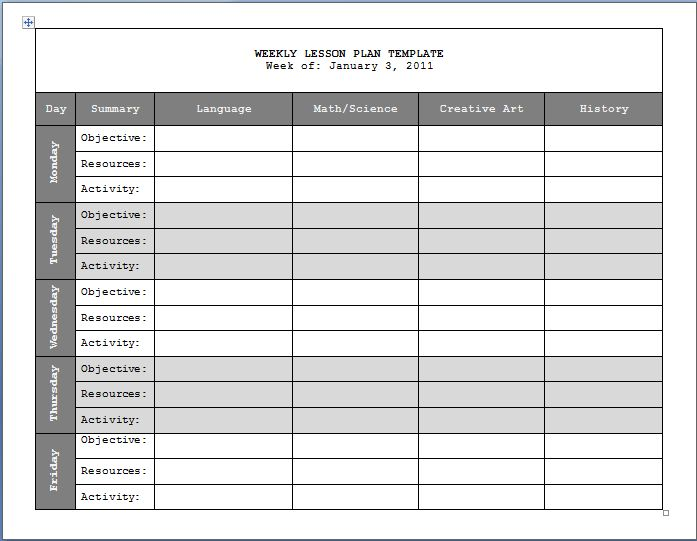 Docs Formatted Plan Templates | Print Paper Templates