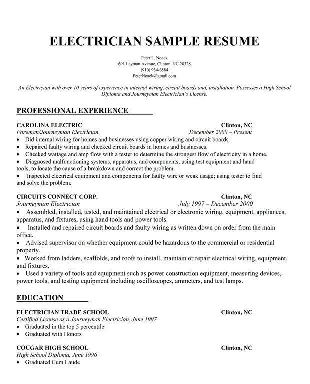 Download Electrician Resume Sample | haadyaooverbayresort.com