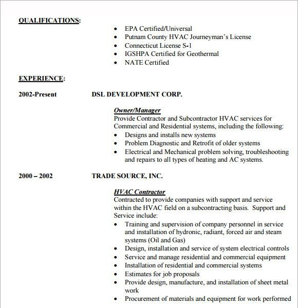 10+ HVAC Resume Templates – Free Samples , Examples & Format
