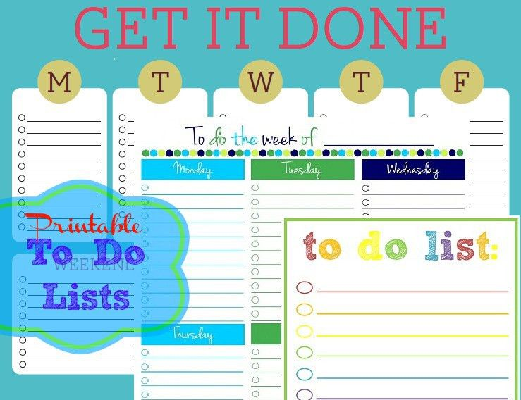 Free Printable To-Do Lists – Cute & Colorful Templates | Free ...