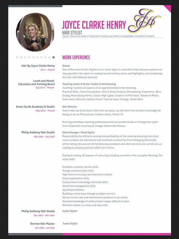Professional Hair Stylist Resume - http://jobresumesample.com/1234 ...