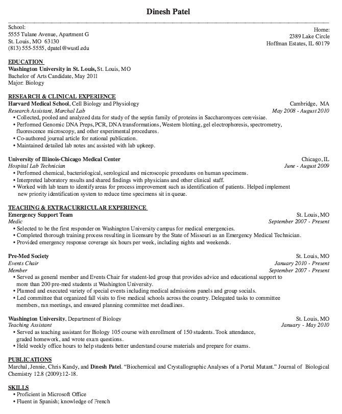 Medical School Resumes - Best Resume Collection