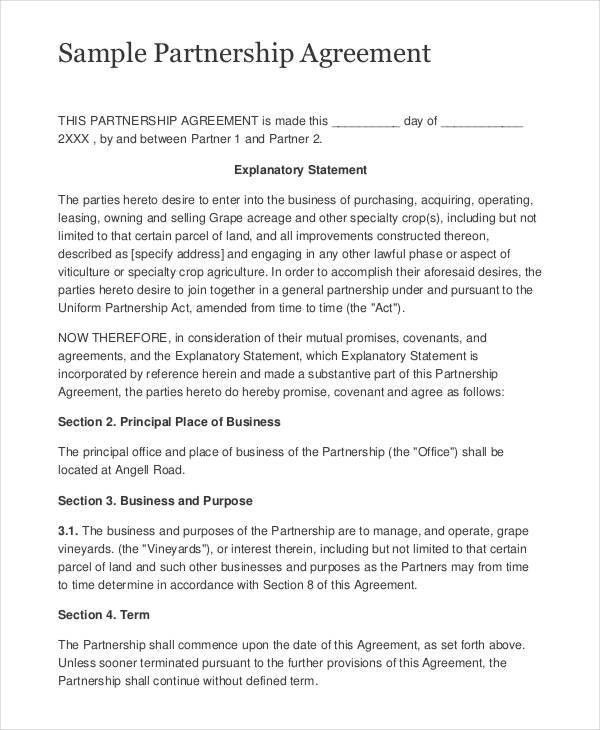 8+ Partnership Contract Templates - Free Sample, Example, Format ...