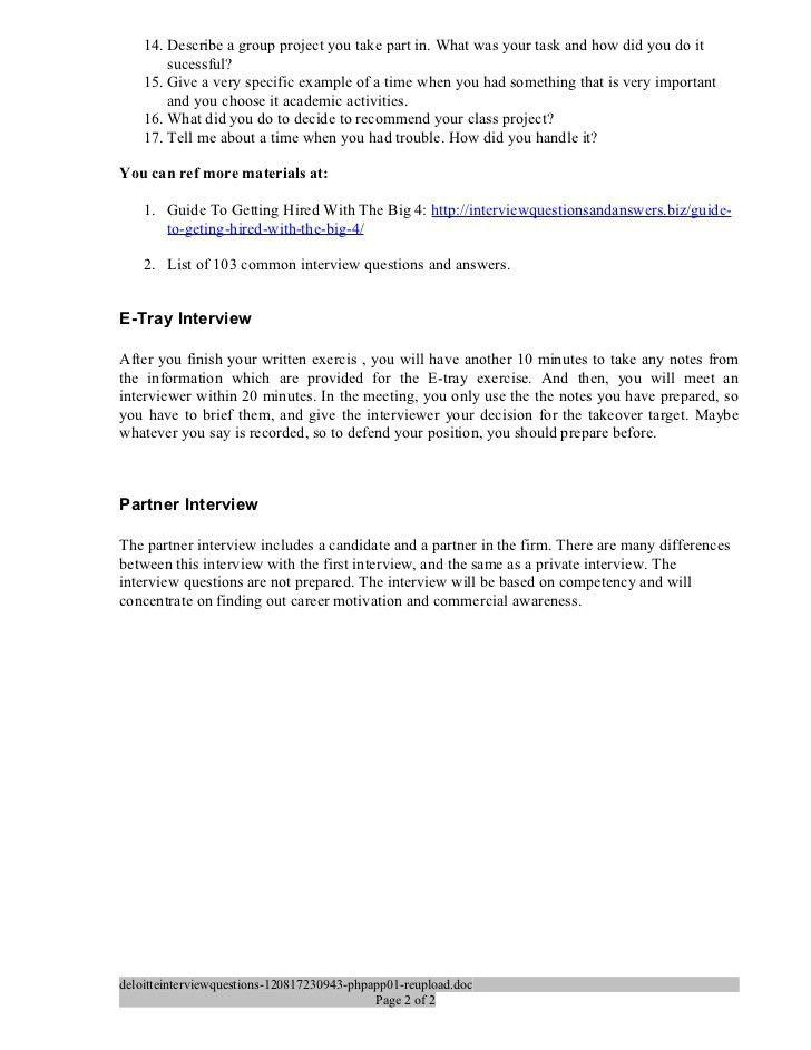 Case study interview questions deloitte