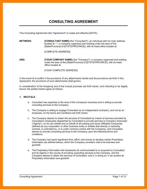4+ consulting contract template free | Introduction Letter