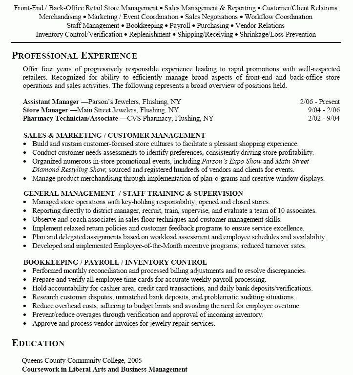 Super Cool Retail Resume Template 16 Retail Store Manager ...