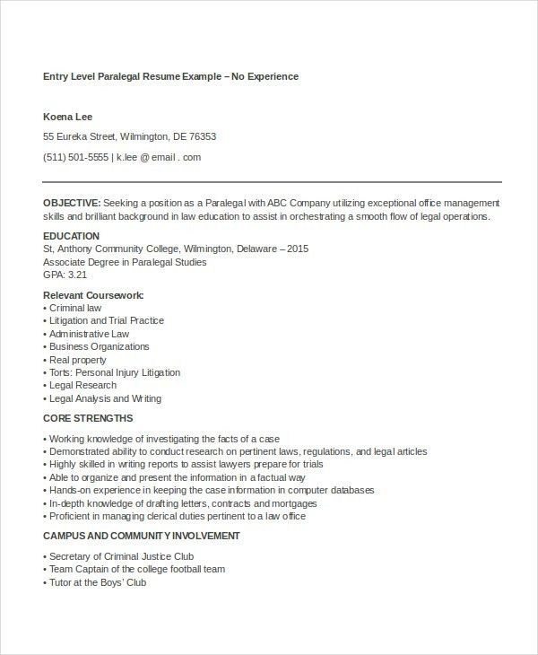 9+ Paralegal Resumes - Free Sample, Example, Format | Free ...