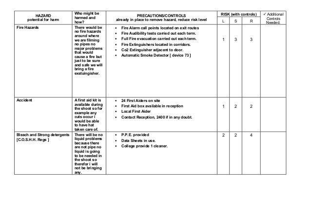 Cleaning Risk Assessment Template - Osclues.com