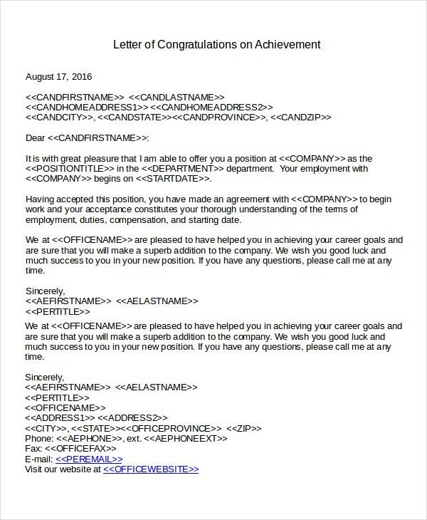 Congratulations Letter Template - 7+ Free Word Document Downloads ...