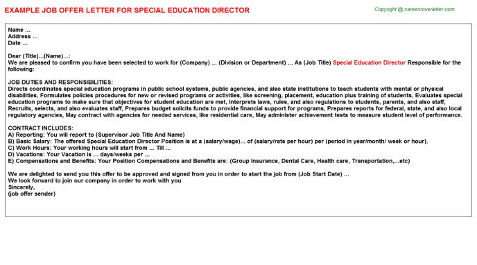 Special Education Director Offer Letter