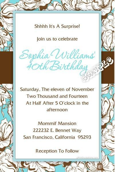 209 best Adult Birthday Party Invitations images on Pinterest ...