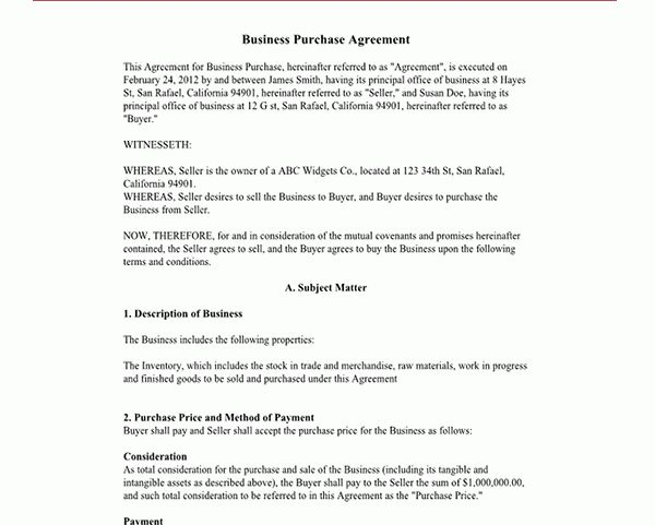 Business Purchase Agreement Form | Sample Forms