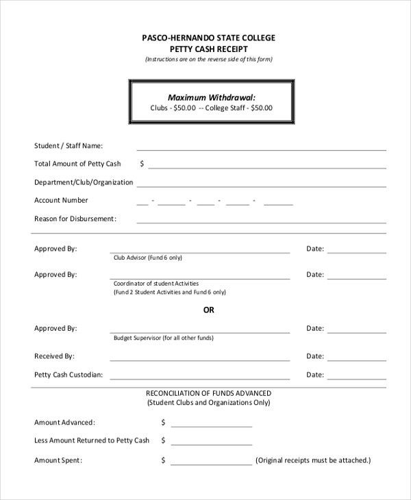 Sample Petty Cash Receipt Form - 8+ Free Documents in Word, PDF