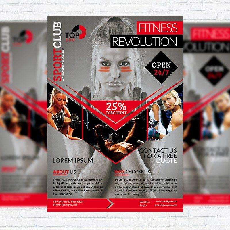 Fitness Revolution – Premium Flyer Template + Facebook Cover ...