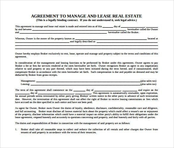 Sample Real Estate Rental and Lease Form - 8+ Download Free ...