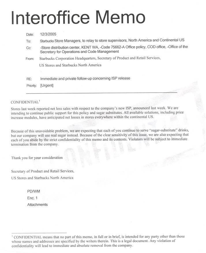 Starbucks Interoffice Memo (CONFIDENTIAL)