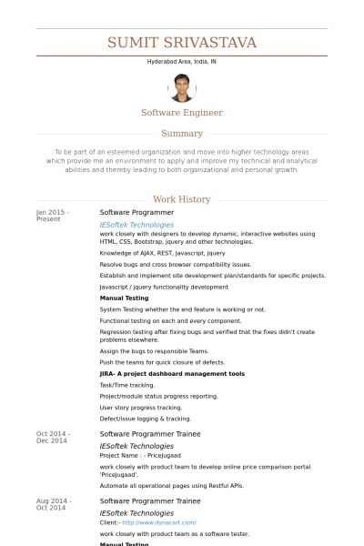 Software Programmer Resume samples - VisualCV resume samples database