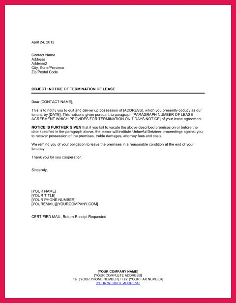 termination of lease letter | sop examples
