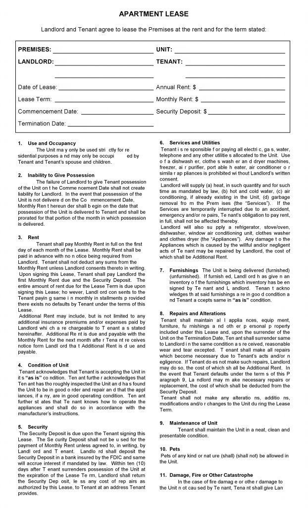 Free Printable Apartment Lease Agreement - Printable Agreements