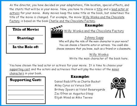 Movie Camera Book Report Project: templates, worksheets, rubric ...