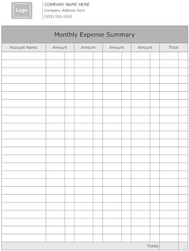 Monthly Expense Report Forms for Your Inspirations : Vatansun