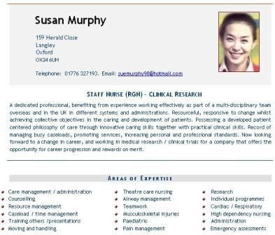 Nursing CV example, nurses doctors, Curriculum Vitae CV service
