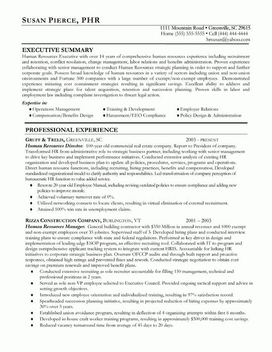 Human Resources Resume Example - Sample